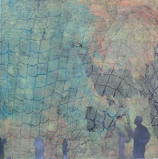 """Web #2"", Acrylic on Paper, 15""x15"", 2013 © Belinda Chlouber"