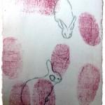 """The Rabbit's"", Mixed Media, 8""x6"", 2013 © Belinda Chlouber"