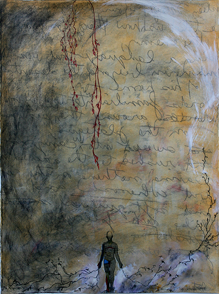 """Code I"", Mixed Media on Paper, 30""x23"", 2013 © Belinda Chlouber. Inspired by the poem ""Code Talkers"" by Carla Chlouber"