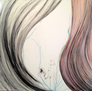 """""""I'm Thinking about It"""", In progress, 30""""x30"""", Mixed media"""