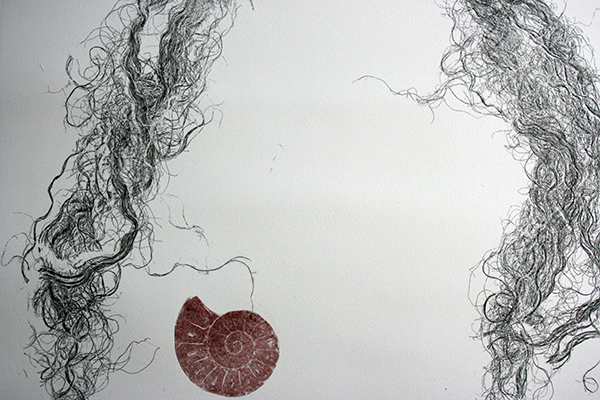 Implant #1, Monoprint on Paper, detail, 2014