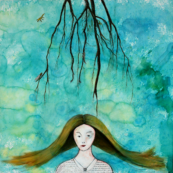 """The Water Witch"", Mixed Media Encaustic, 30""x30"", © Belinda Chlouber 2014"