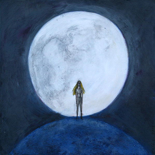 """Moonlight"", Mixed Media on Paper, 15"" x15"" © Belinda Chlouber 2015"