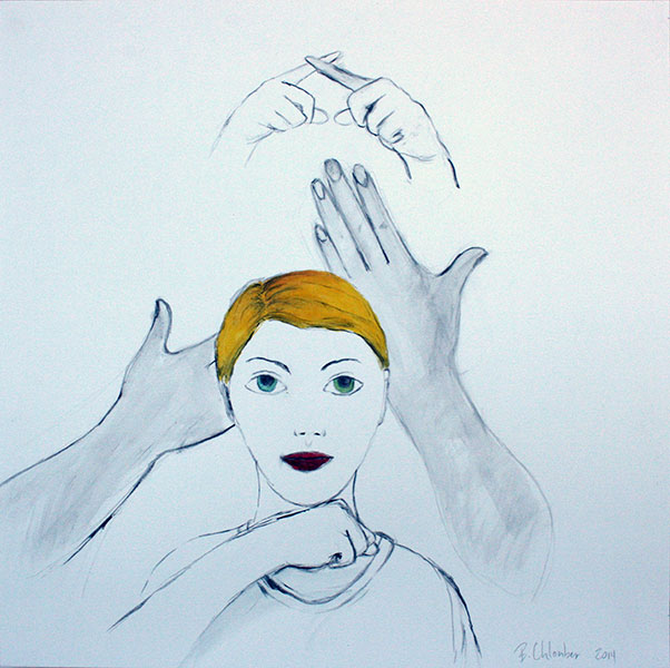 """My Hand is like Stone"", Mixed Media on Paper, 15""x15"" © Belinda Chlouber 2014"