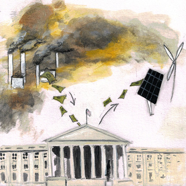 """Tax Carbon Subsidize Green Energy"", 6""x6"" painting from my ""50 Ways to Tame Our Wicked Climate Crisis"". ©Belinda Chlouber 2015"