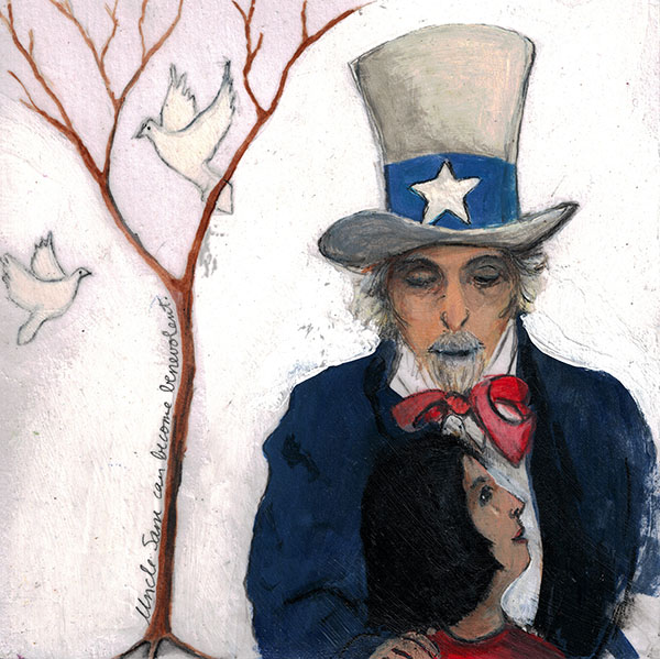 """Uncle Sam Can Be Benevolent"", 6""x6"" painting from my project ""50 Ways to Tame Our Wicked Climate Crisis"". ©Belinda Chlouber 2015"
