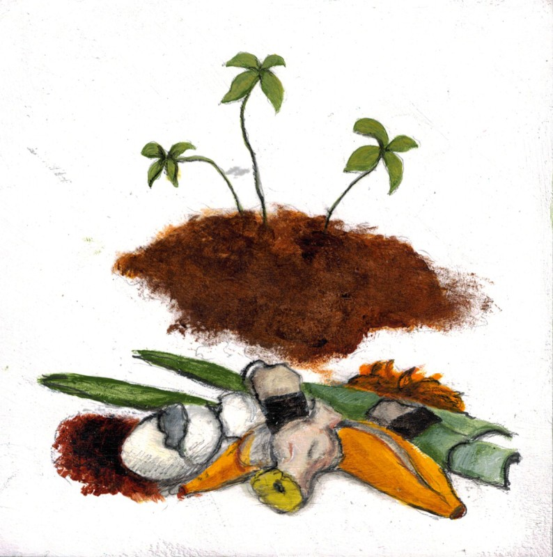 """Compost"", Mixed media on paper mounted on panel, 6"" x6"", 2015"