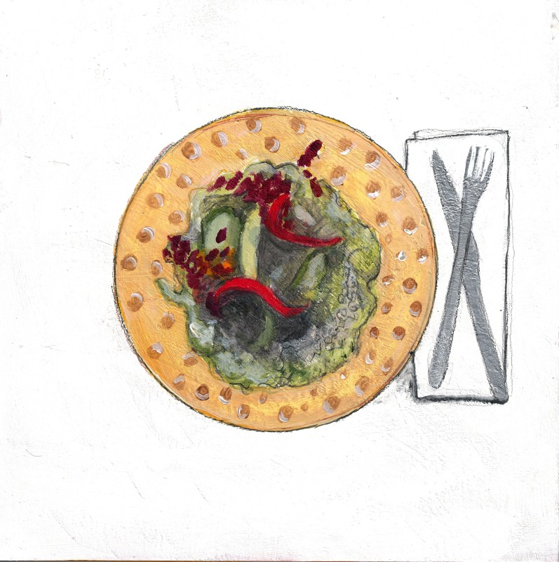 """Eat a Low Carbon Diet"", Mixed media on paper mounted on panel, 6"" x6"", 2015"