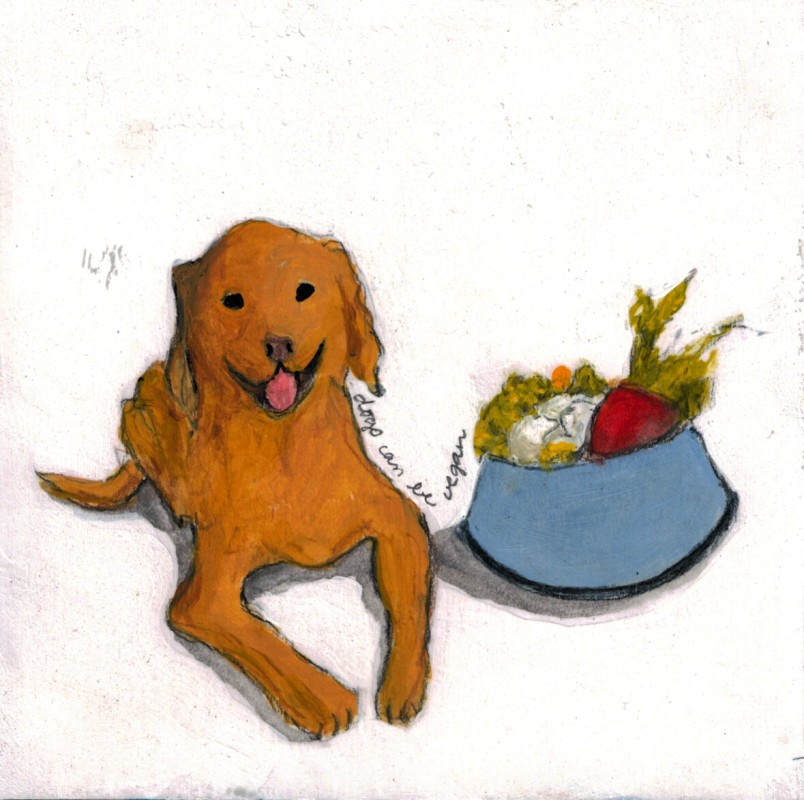 """Dogs can be Vegan"", Mixed media on paper mounted on panel, 6"" x6"", 2015"